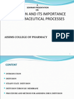 Diffusion and Its Importance in Pharmaceutical Processes