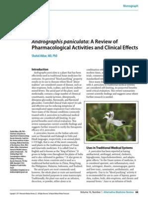 Andrographis Paniculata A Review Of Blood Sugar Diabetes Mellitus
