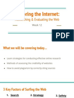 exploring the internet- researching   evaluating the web