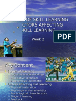week 2 - stages of learning   factors affecting skill learni