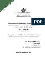 proceso de clasificación de las mercancías en el Arancel de Aduanas