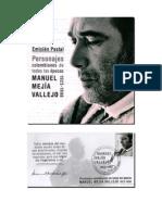 Emisión Postal Personajes Colombianos de todas las épocas. Manuel Mejía Vallejo. Autor Bernardo González White.