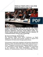 Universal Postal Union (Upu) Call for Reforms in Postal Sector