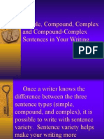 simple  compound  and complex sentences in