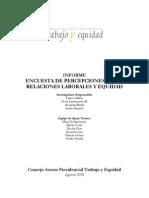 Encuesta de Percecpcion Sobre Relaciones Laborales y de Equidad Agosto 2008
