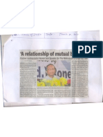 TOI March 21, 2010 Report on Amb Ronen Sen's Lecture in Lucknow University