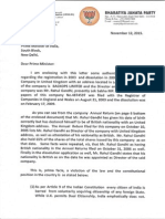 Subramanian Swamy's letter and documents to PM on Nov 12, 2015 on Rahul Gandhi's British Citizenship
