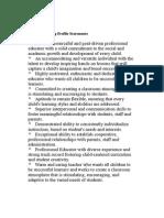 Sample Teaching Profile Statements