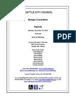 Seattle Budget Agenda
