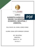 Elementos químicos de impacto en la región.