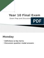 year 10 final exam prep