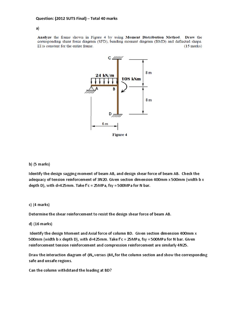 Test Question Pool Beam Structure Bending Shear And Moment Diagram For Frames