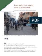 Syria's Nusra Front Backs Paris Attacks, Despite Opposition to Islamic State