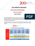Resumen del Plan Peru Bicentenario - APRA