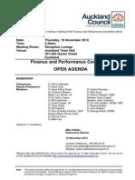 Finance and Performance Committee - Agenda November, 2015