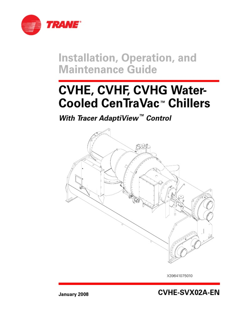 water cooled chiller valve pipe fluid conveyance rh scribd com Trane Chiller Sizing Trane AdaptiView