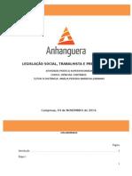 ATPS Legislação Social, Trabalhista e Previdenciária