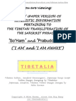 LINGUISTIC INFORMATION ACCOMPANYING TIBETALIA'S TIBETAN TRANSLITERATION OF THE SANSKRIT PHRASES 'SO HAM' and 'PRABUDDHAASMI' i.e. 'I AM' and 'I AM AWAKE'; SHOWING HOW SANSKRIT SOURCE TEXT IS TRANSCRIBED FROM SANSKRIT AND CONVERTED INTO TIBETAN TARGET TEXT REALISED AS HORIZONTALLY ARRANGED UCHEN (HEADED) SCRIPT DESIGN;