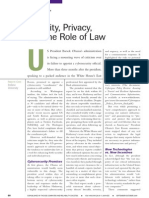 Security Privacy and the Role of Law