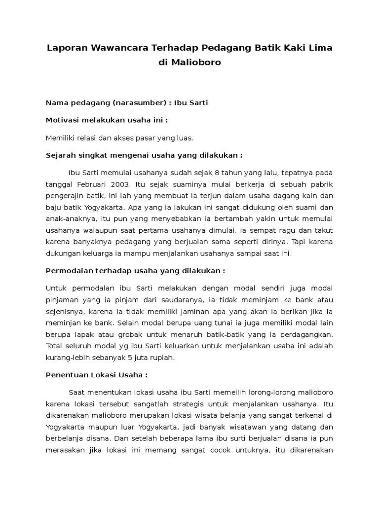 Laporan Wawancara Terhadap Pedagang Batik Kaki Lima Di Malioboro