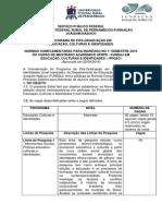 Normas Complementares - Educaçãoo Cultura e Identidades 2016.1