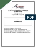 Corporate Secretaryship Memo October 2013