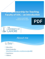 Entrepreneurship for Teaching Faculty of UOL - An Introduction