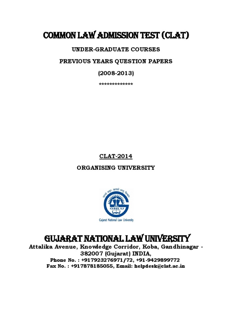 UG Courses Previous Years CLAT Question Papers   Nature