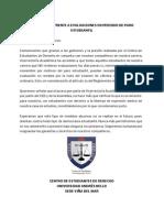 COMUNICADO FRENTE A EVALUACIONES EN PERIODO DE PARO ESTUDIANTIL