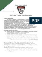 k   e math course outline