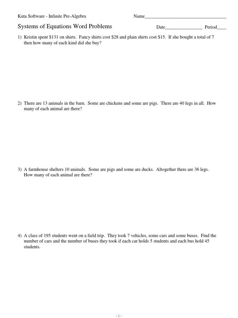 Worksheets Systems Of Equations Word Problems Worksheet 1 systems word problems vehicles transport