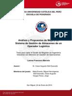Analisis Propuesta Mejora Sistema Gestión Almacenes Operador Logístico