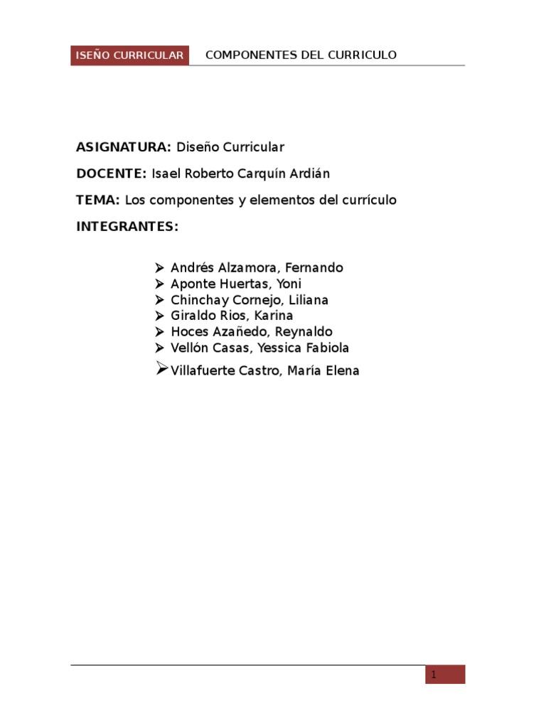 Los Componentes y Elementos Del Curriculo