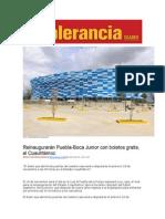 08-11-2015 Intolerancia - Reinaugurarán Puebla-Boca Junior Con Boletos Gratis, El Cuauhtémoc
