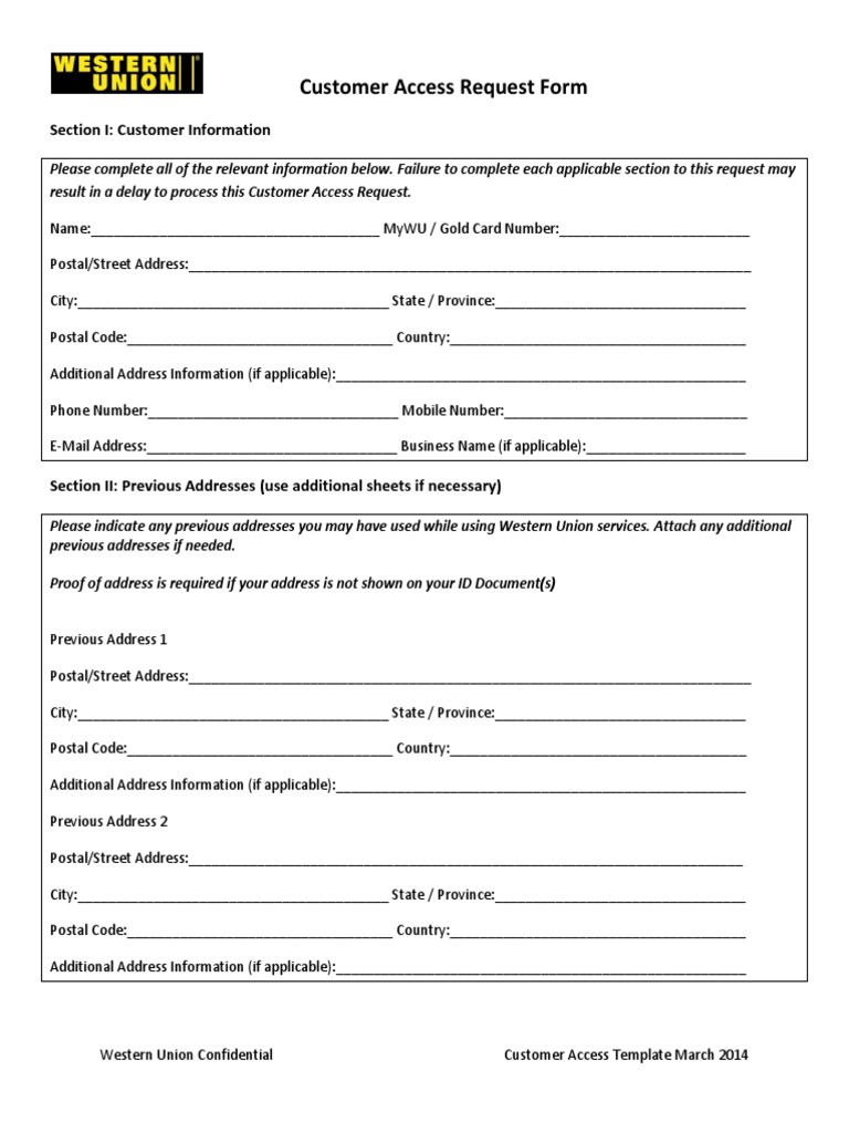 Customer Access Request Form Identity Document – Access Request Form