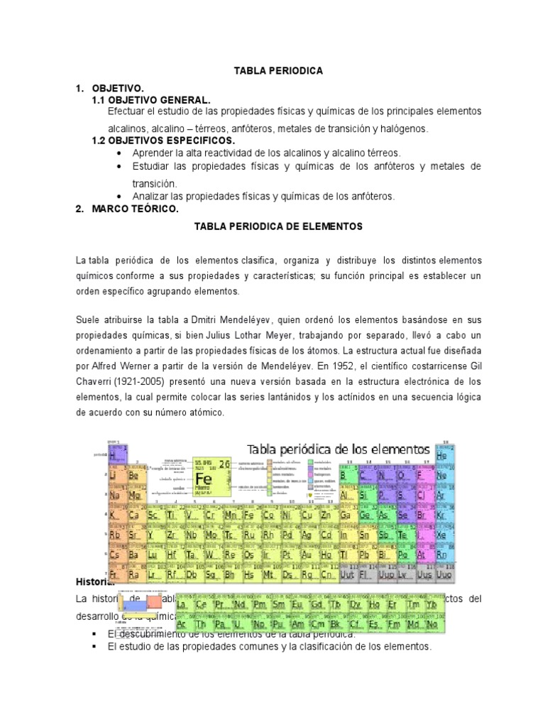 Practica n 1 estudio de la tabla periodica urtaz Gallery