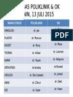 Petugas Poliklinik & Ok 9 Juli 2015