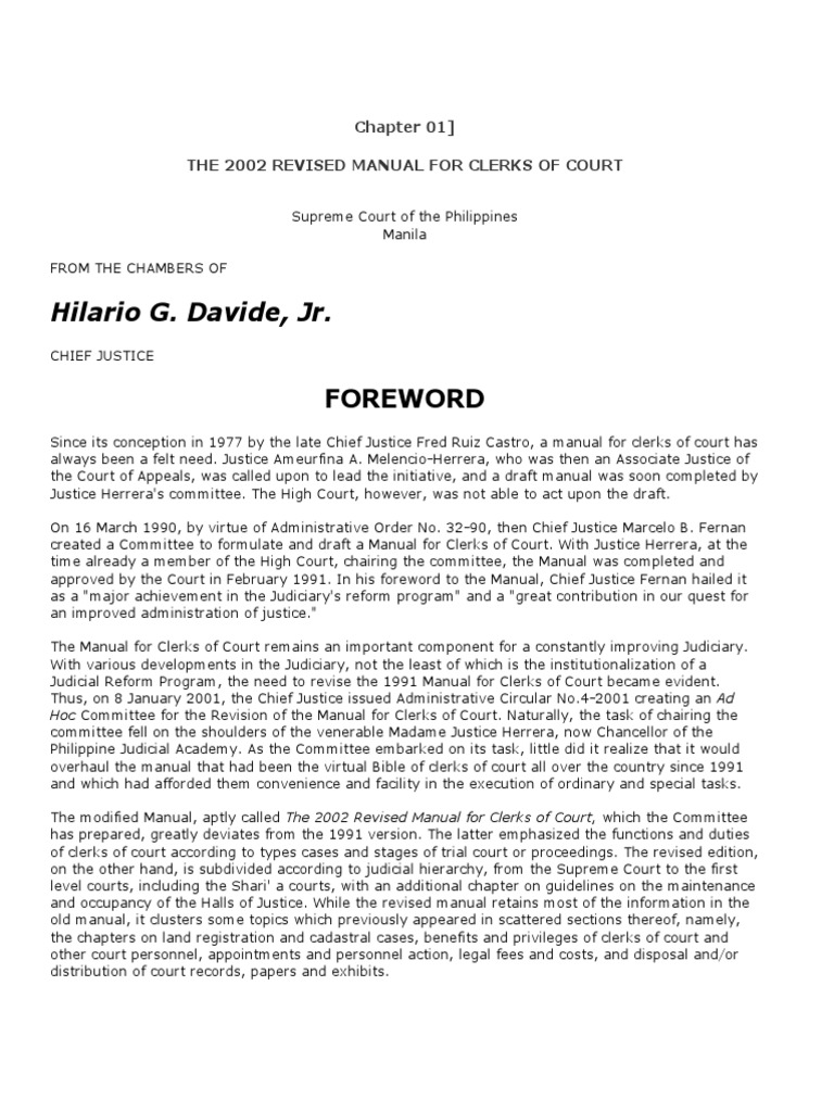 2002 Revised Manual For Clerks Of Court Judiciaries Judge Rh Scribd Com  Clerk School And Student