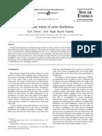 Present status of solar distillation