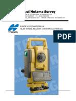 Buku Manual Topcon Total Station GTS 102N