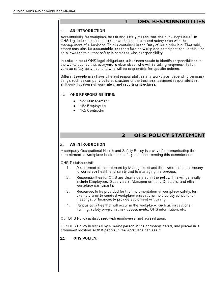 ohs policies and procedures manual occupational safety and health personal protective equipment