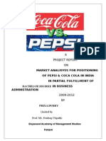 MARKET ANALISYES FOR POSITIONING                                 OF PEPSI & COCA COLA