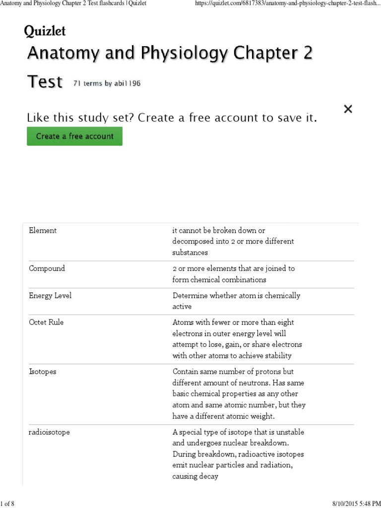 Tolle Anatomy And Physiology Chapter 2 Test Quizlet Bilder ...