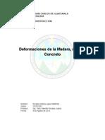 Deformaciones en Madera Acero y Concreto