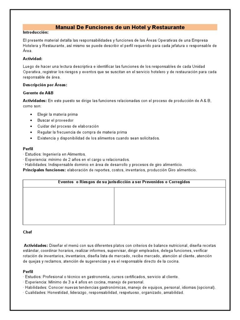 Manual de funciones de un hotel y restaurante for Manual de funciones de un restaurante pdf