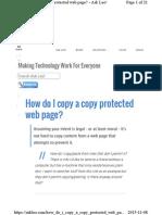How Do I Copy aHow do I copy a copy protected web page Copy Protected Web Page