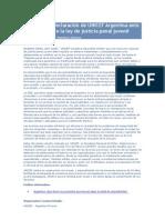 Declaración de UNICEF Argentina ante el debate sobre la ley de justicia penal juvenil