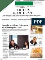 11-11-15 Senadoras piden a Peña terna de mujeres para corte