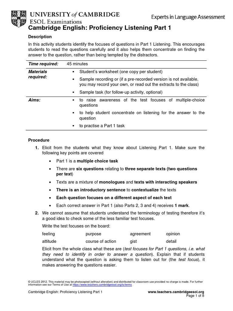 Cambridge English Proficiency (CPE) Listening Part 1   Test