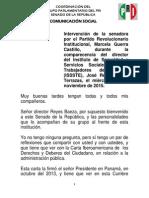 18-11-15 Intervención de La Senadora Por El Partido Revolucionario Institucional, Marcela Guerra Castillo, Durante La Comparecencia Del Director Del ISSSTE José Reyes Baeza Terrazas